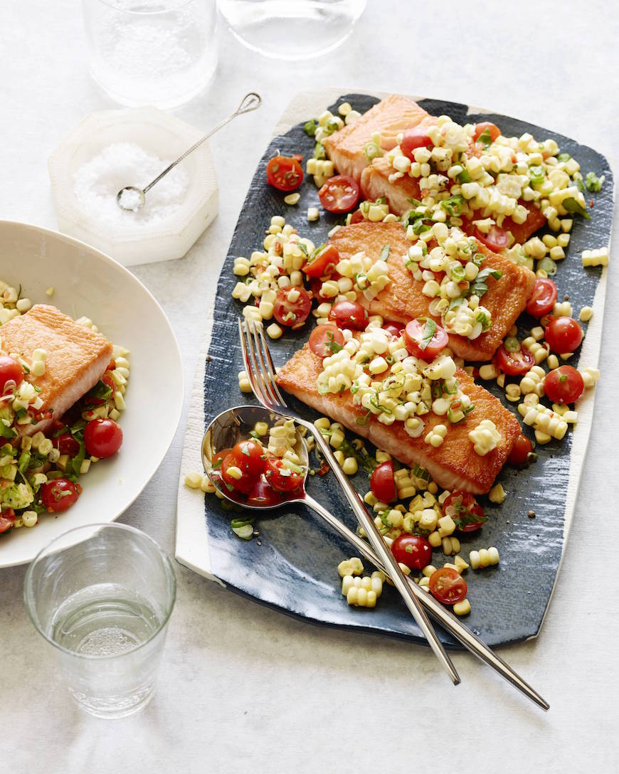 Crispy Salmon Succotash from www.whatsgabycooking.com (@whatsgabycookin)