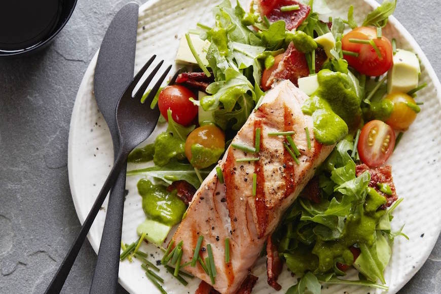 BLT Salmon Salad with Cilantro Vinaigrette