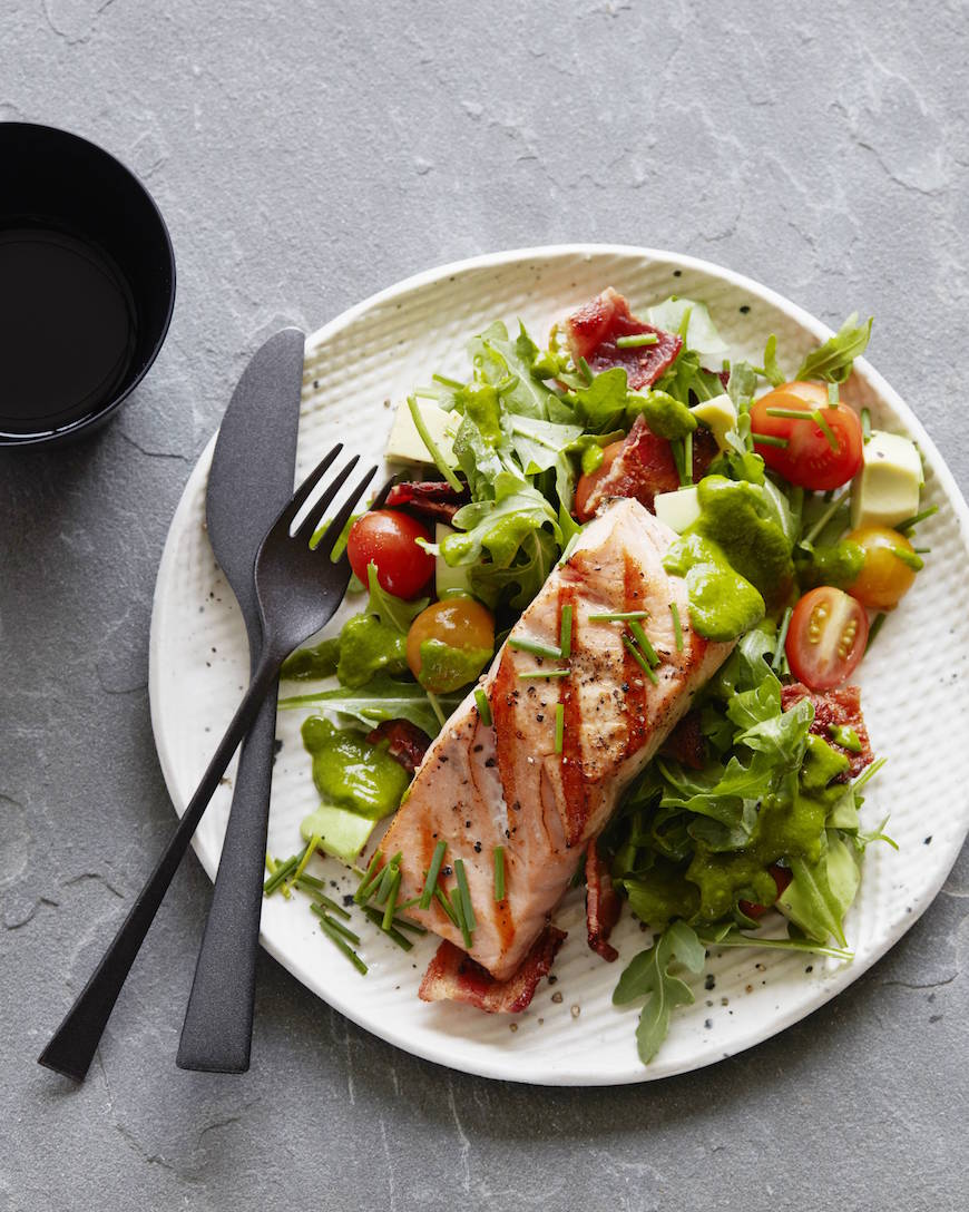 BLT Salmon Salad + Cilantro Dressing - What's Gaby Cooking