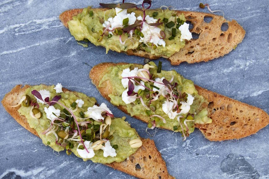 Goat Cheese Avocado Crostini