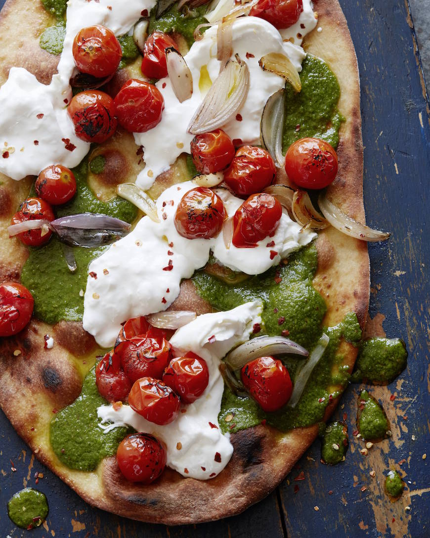 Charred Tomato Pesto Pizza from www.whatsgabycooking.com (@whatsgabycookin)