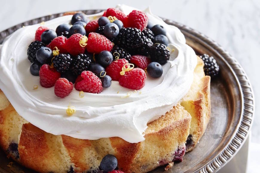 Mixed Berry Lemon Drenched Cake