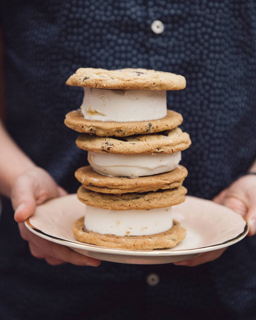 Salted Dark Chocolate Chip Cookie Ice Cream Sandwiches from www.whatsgabycooking.com (@whatsgabycookin)