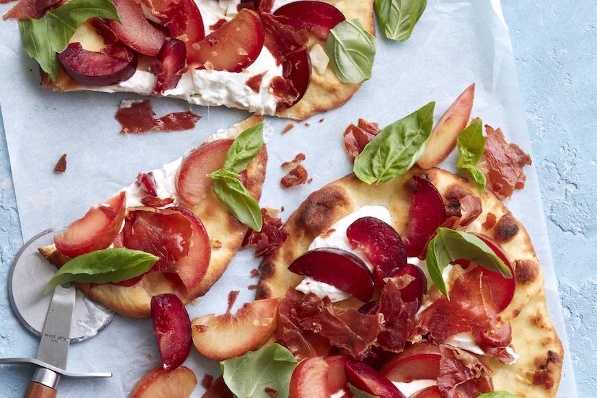 Crispy Prosciutto, Plum and Burrata Flatbread