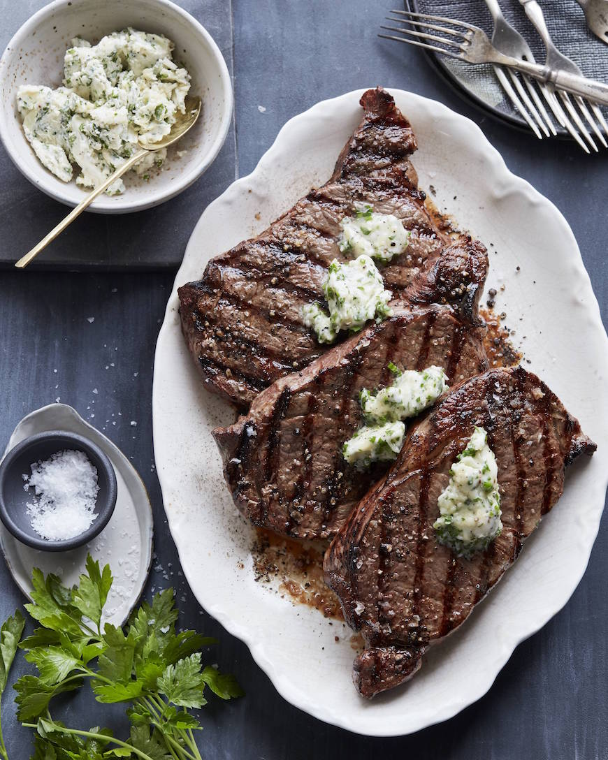 Grilled Rib Eye Steak with Compound Butter // Part of the Valentine's Day Menu from www.whatsgabycooking.com (@whatsgabycookin)