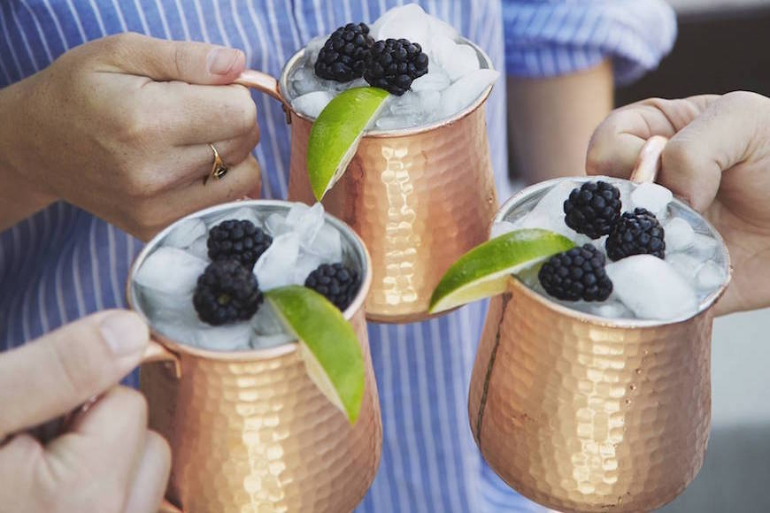 Crushed Blackberry Moscow Mules