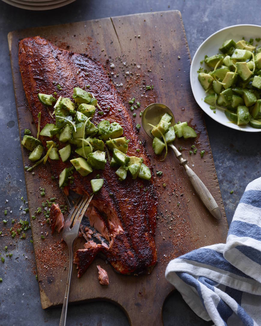Blackened Salmon with Avocado Cucumber Salsa from www.whatsgabycooking.com (@whatsgabycookin)