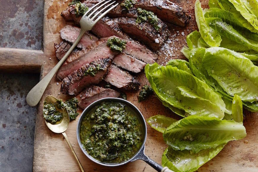 Grilled Flank Steak with Salsa Verde from www.whatsgabycooking.com (@whatsgabycookin)