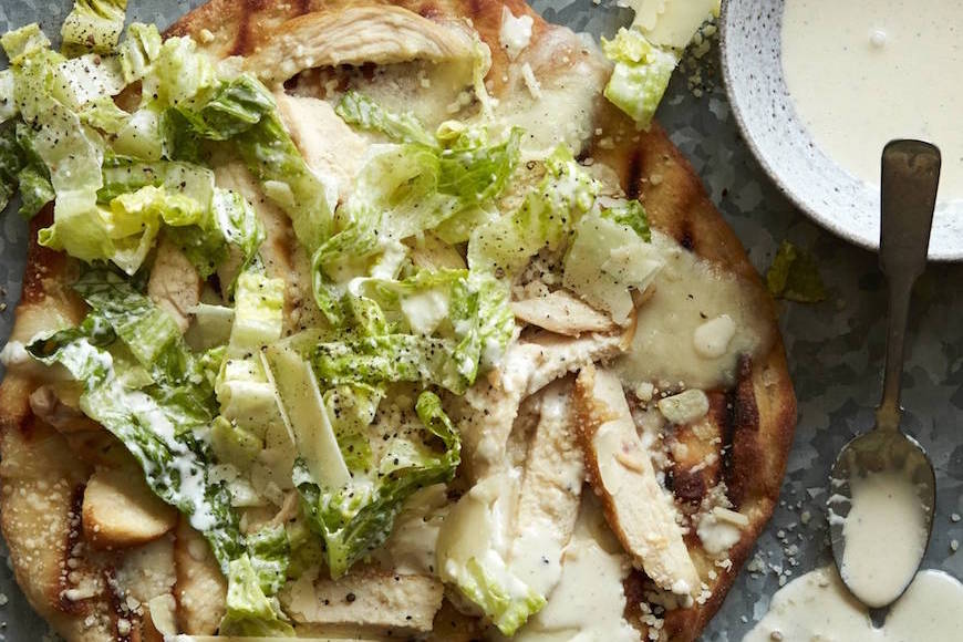 Chicken Caesar Salad Pizza from www.whatsgabycooking.com (@whatsgabycookin)