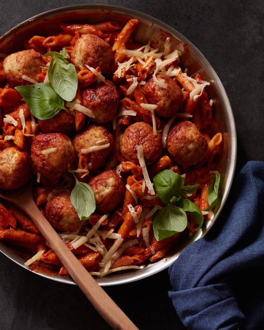 Sun Dried Tomato Pasta with Chicken Meatballs from www.whatsgabycooking.com (@whatsgabycookin)