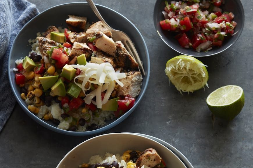 Cauliflower Rice Chicken Burrito Bowl