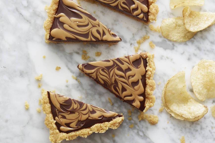 Chocolate Peanut Butter Swirl Tart with Kettle Chip Crust