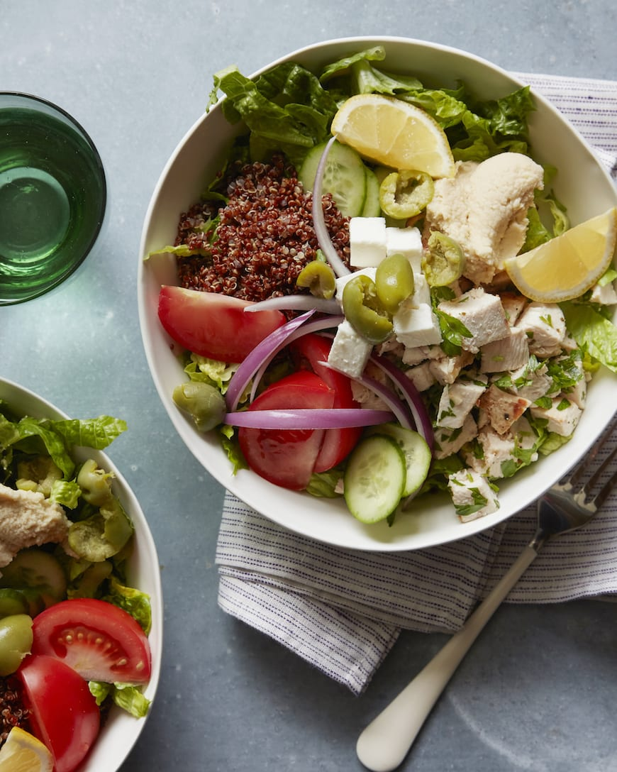Mediterranean Grilled Chicken Salad with Hummus from www.whatsgabycooking.com (@whatsgabycookin)