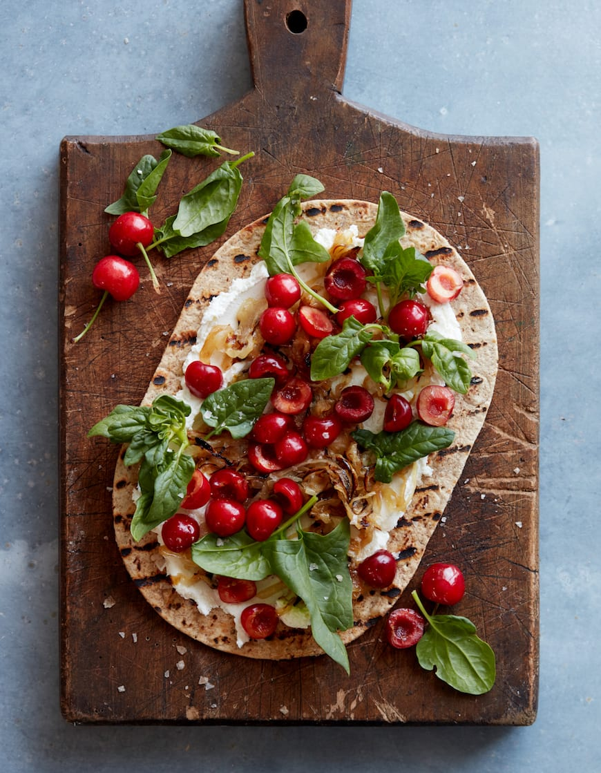 Grilled Cherry Flatbread from www.whatsgabycooking.com (@whatsgabycookin)