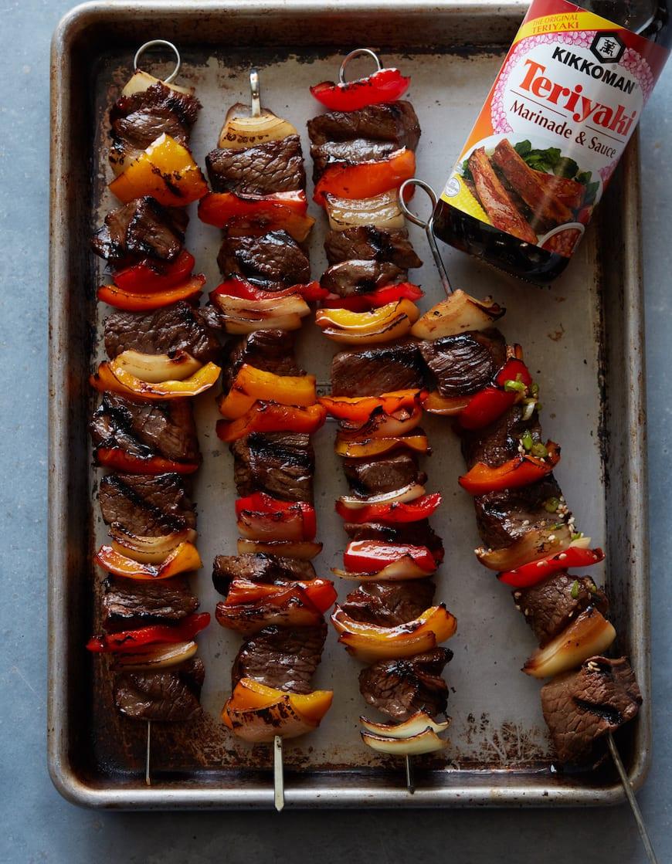 Grilled Beef Kebabs from www.whatsgabycooking.com (@whatsgabycookin)