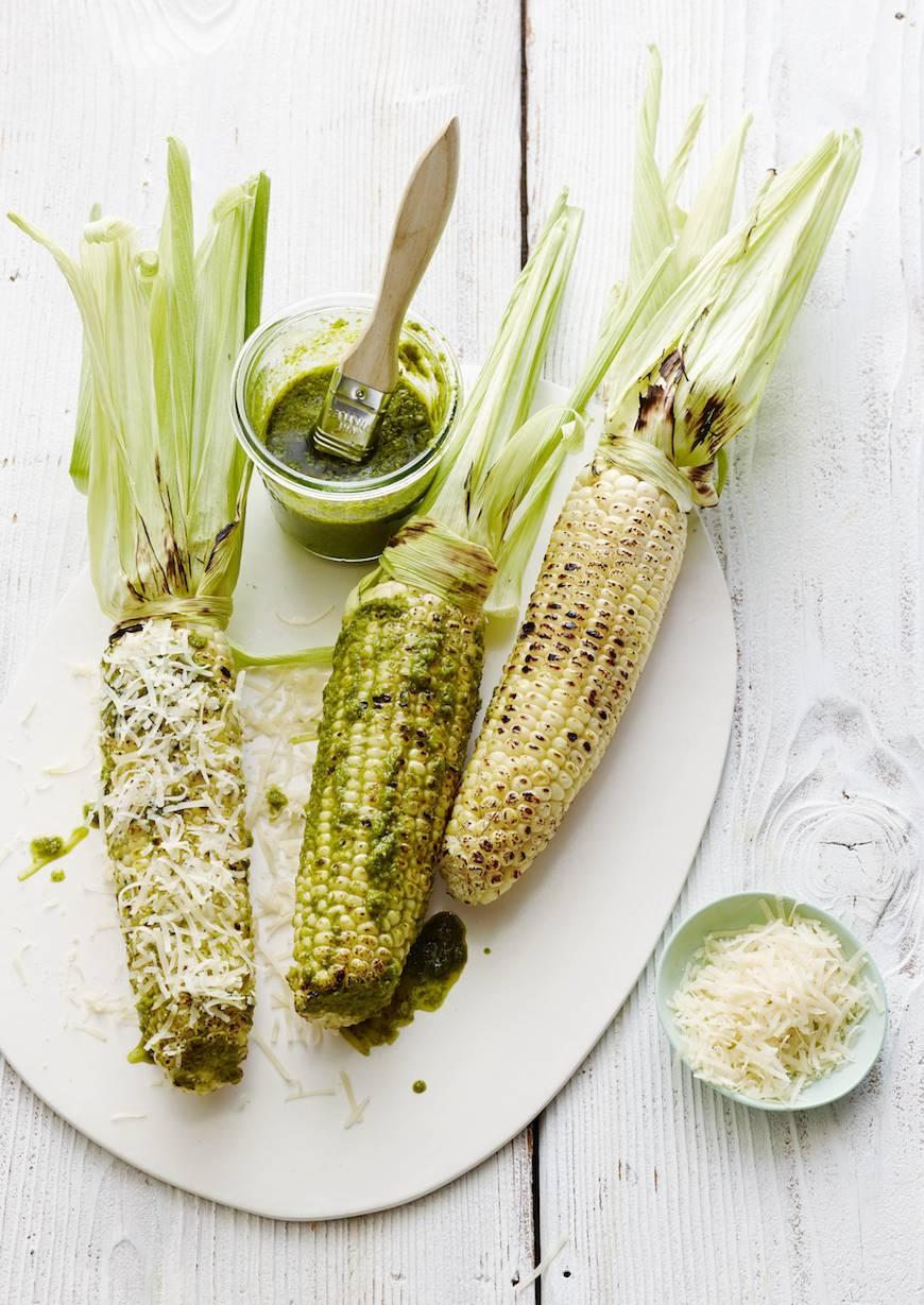 Basil-Parmesan-Grilled-Corn