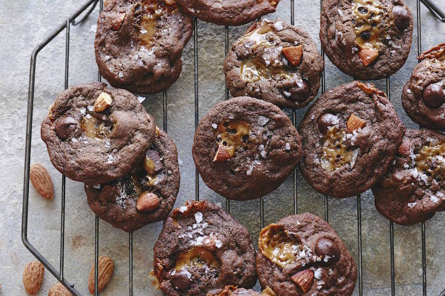 Double Chocolate Chip Caramel Cookies from www.whatsgabycooking.com (@whatsgabycookin)