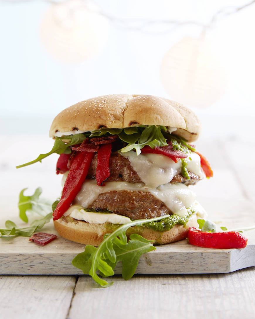 Double Decker Italian Turkey Burger from www.whatsgabycooking.com (@whatsgabycookin)