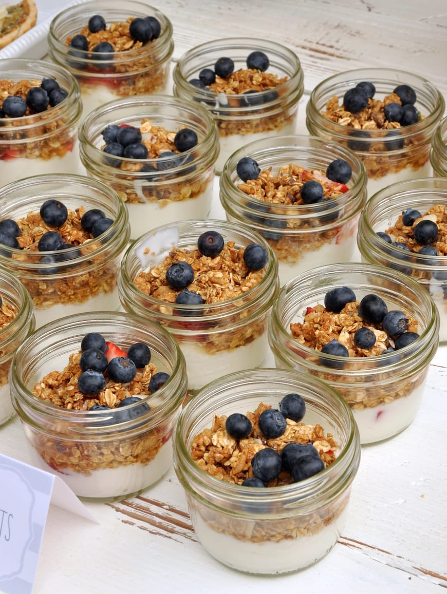 Baby Shower Menu from www.whatsgabycooking.com Granola Parfaits are an easy and delicious menu addition  (@whatsgabycookin)