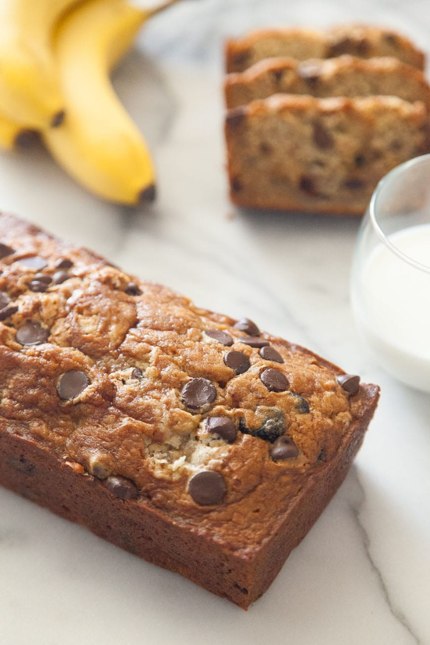 Chocolate Chip Banana Bread for a Mother's Day Brunch Menu from www.whatsgabycooking.com (@whatsgabycookin)