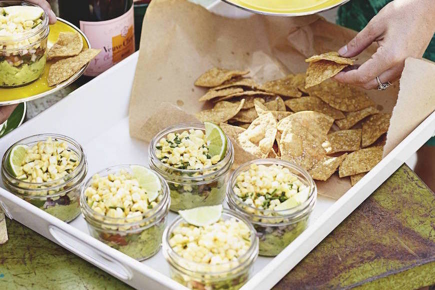 Layered Corn Guacamole from Outdoor Movie Night