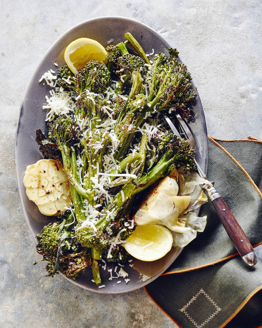 Last Minute Christmas Dinner Menu / Roasted Broccolini with Garlic and Parmesan from www.whatsgabycooking.com (@whatsgabycookin) hands down the best side dish ever