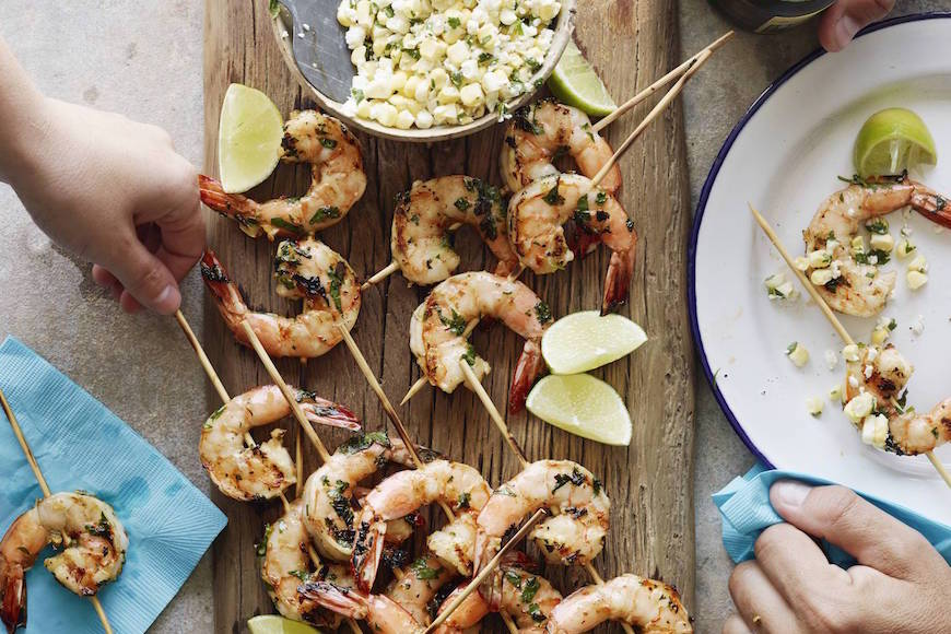 Shrimp Skewers with Corn Salsa