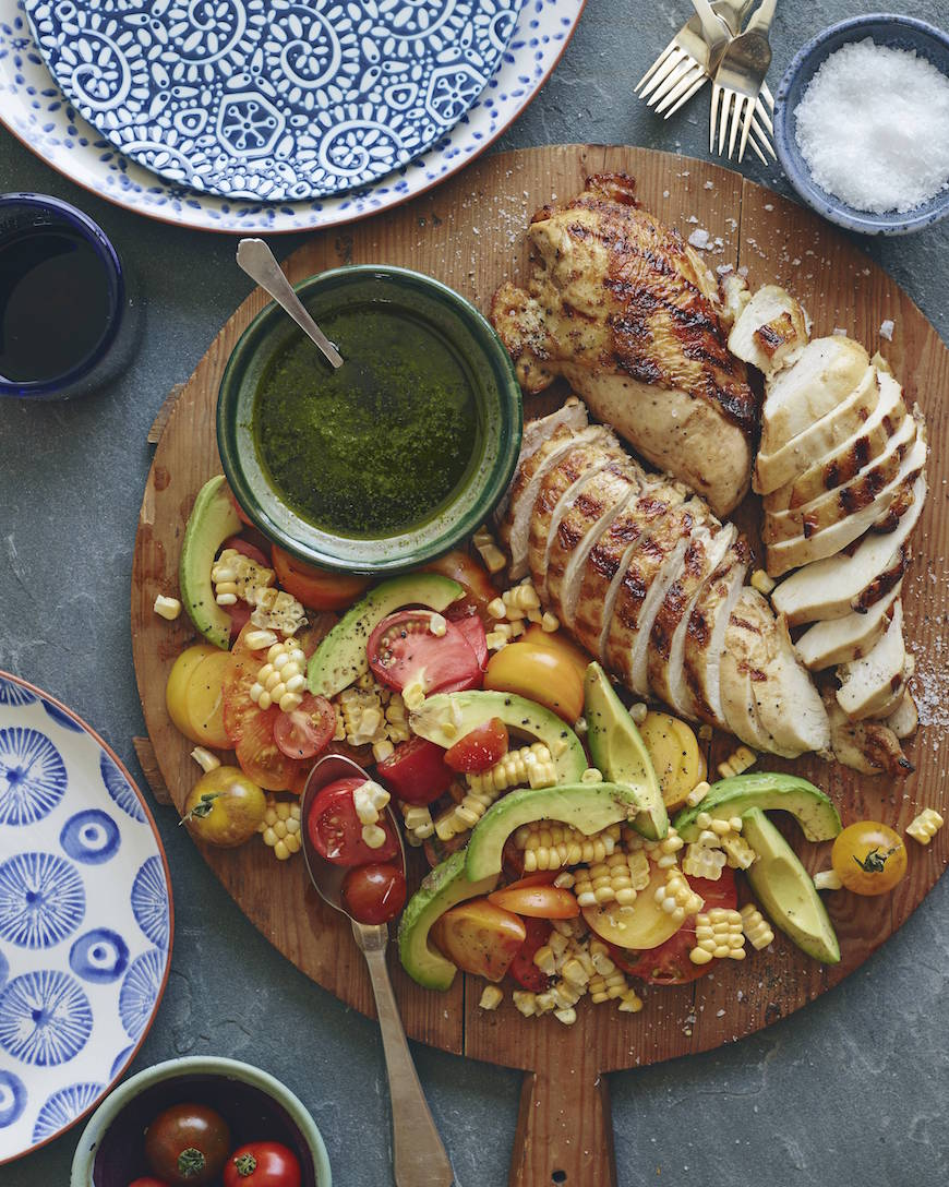 Grilled Chicken and Tomato Avocado Salad from www.whatsgabycooking.com (@whatsgabycookin)