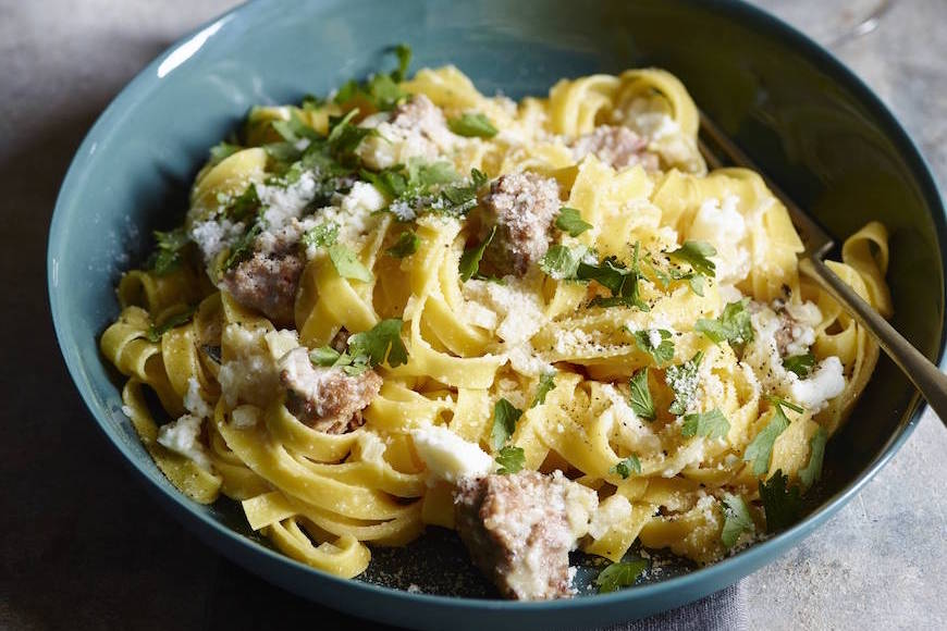 Ricotta and Sausage Pasta from www.whatsgabycooking.com (@whatsgabycookin)