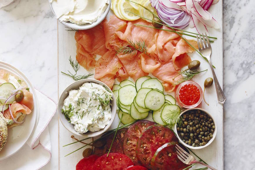 Smoked Salmon Bagel Bar from www.whatsgabycooking.com (@whatsgabycookin)