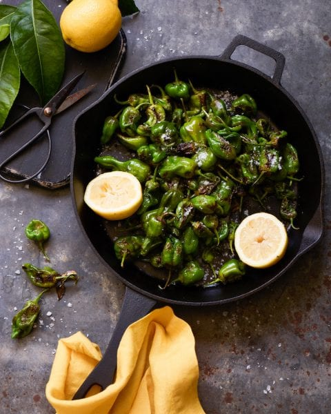 Blistered Padrón Peppers from www.whatsgabycooking.com (@whatsgabycookin)