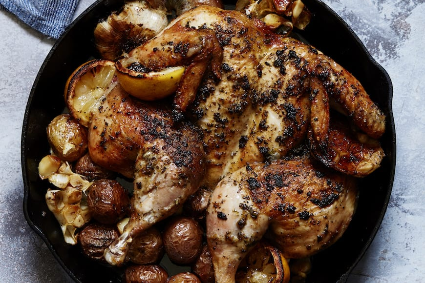 Lemon Roasted Spatchcock Chicken from www.whatsgabycooking.com (@whatsgabycookin)