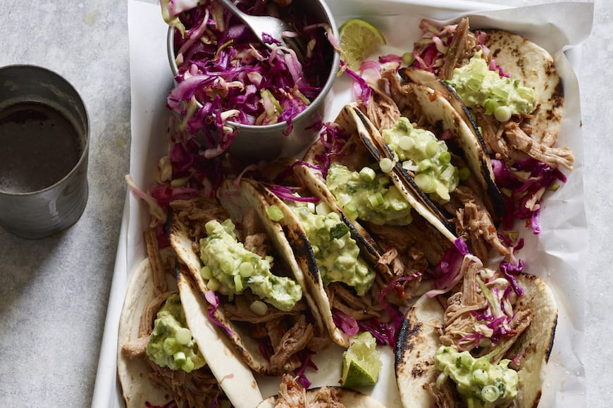 Sweet Pulled Pork Tacos with Avocado Crema