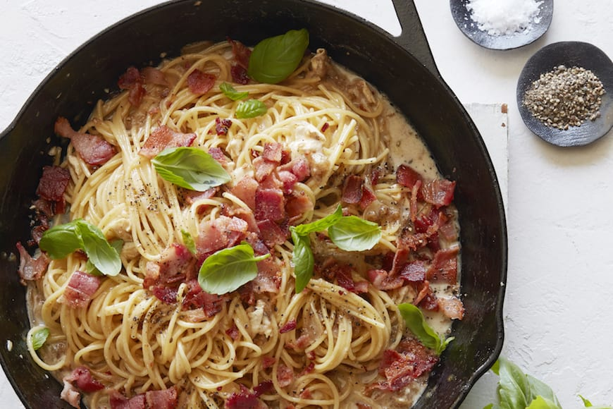 Brie, Bacon and Basil Pasta