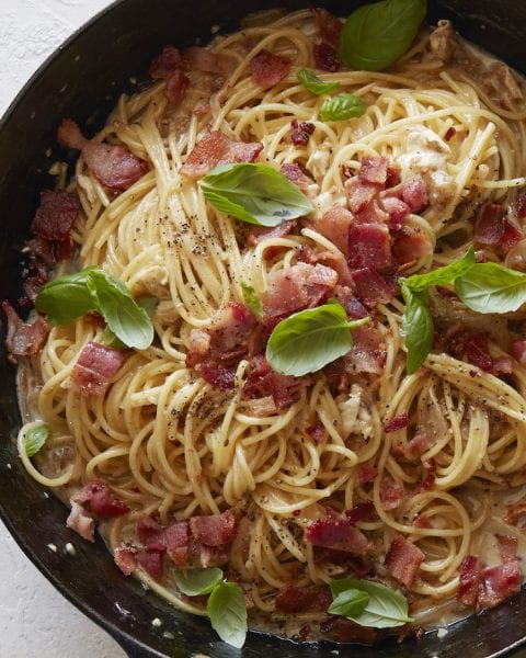Brie Bacon and Basil Pasta - What's Gaby Cooking