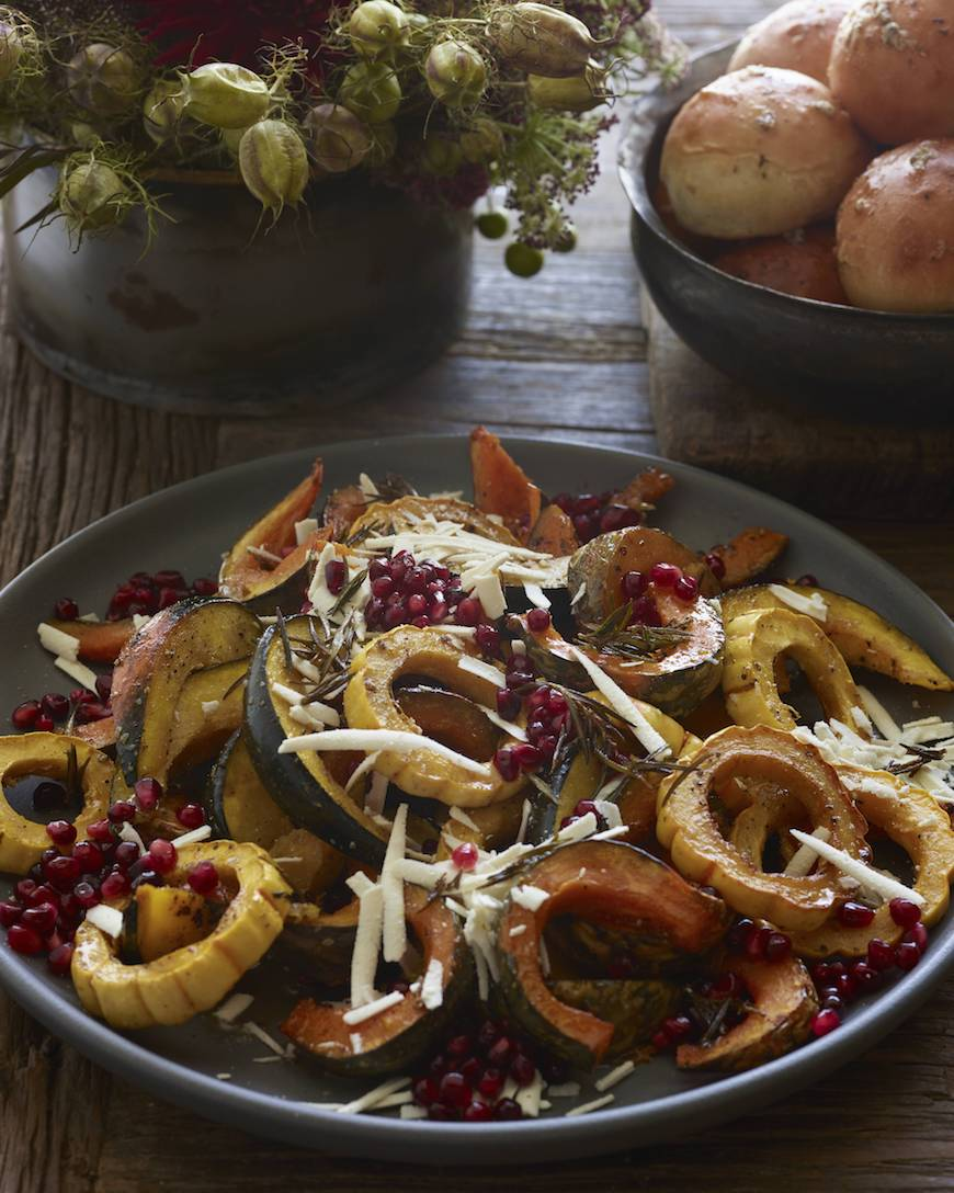 Roasted Pumpkin and Squash with Ricotta Salata and Pomegranate