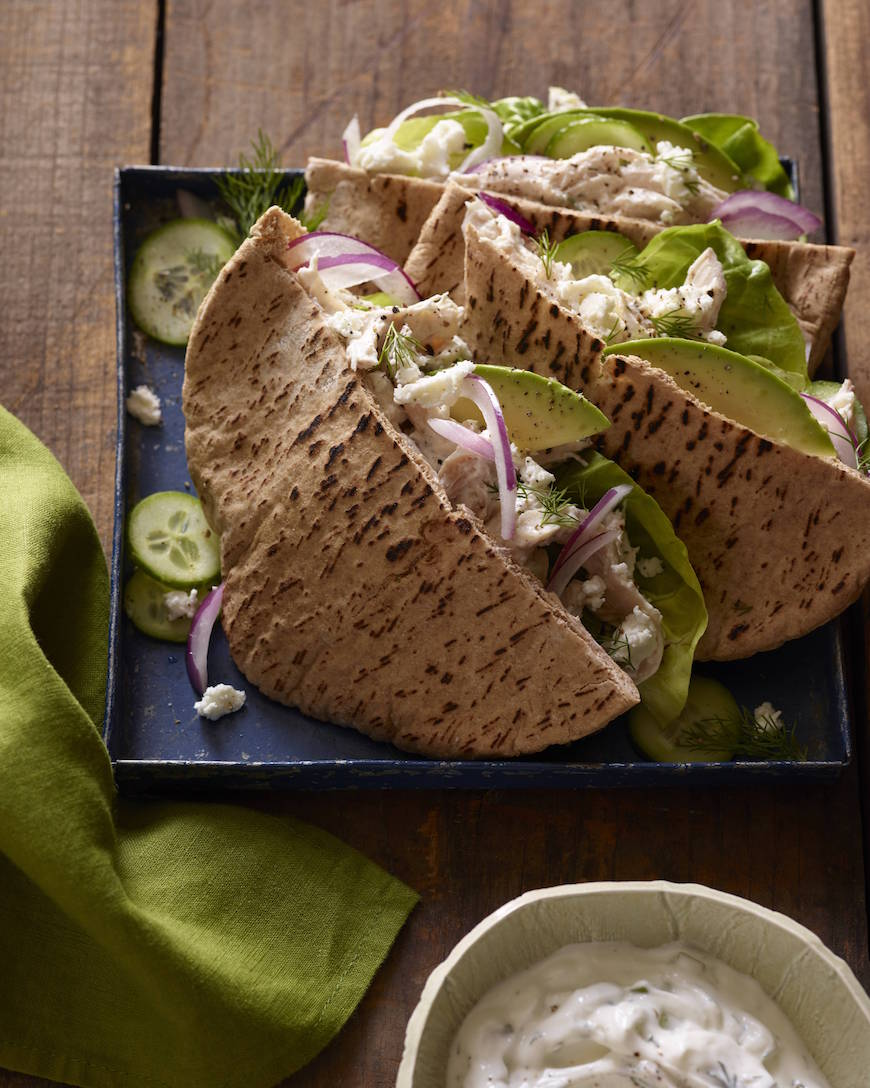 Greek Chicken Stuffed Pitas from www.whatsgabycooking.com (@whatsgabycookin)