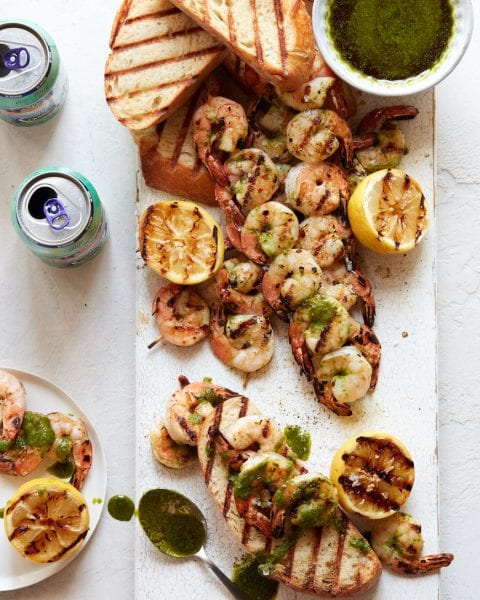 Grilled Shrimp with Cilantro Pesto from www.whatsgabycooking.com (@whatsgabycookin)