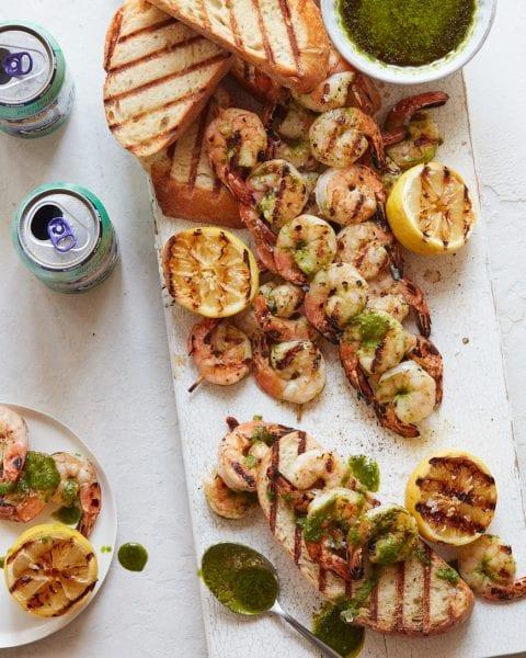 Grilled Shrimp with Cilantro Pesto from www.whatsgabycooking.com (@whatsgabycookin)