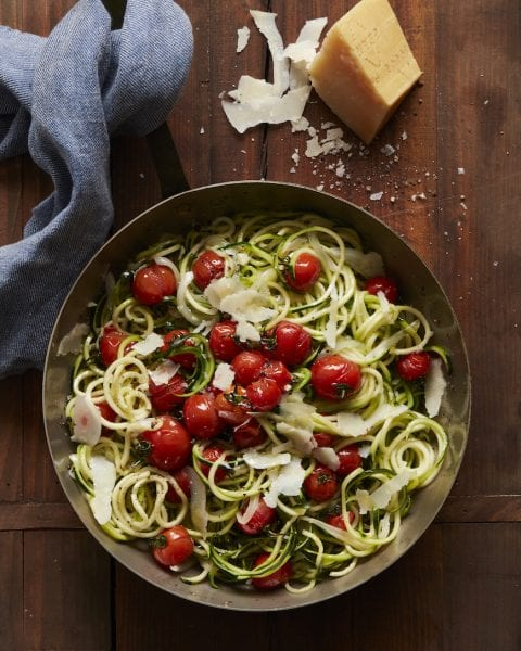 Zucchini Noodles with Roasted Tomatoes from www.whatsgabycooking.com (@whatsgabycookin)