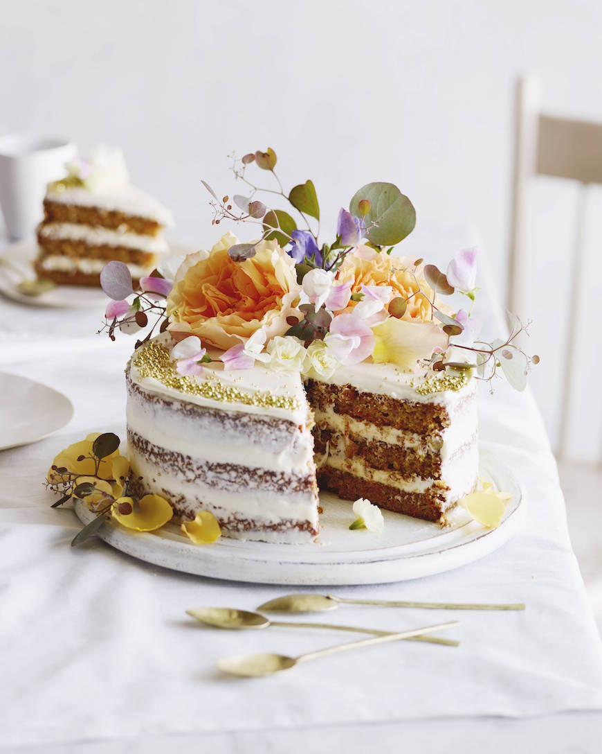 Layered Carrot Cake with Cream Cheese Frosting from www.whatsgabycooking.com (@whatsgabycookin)