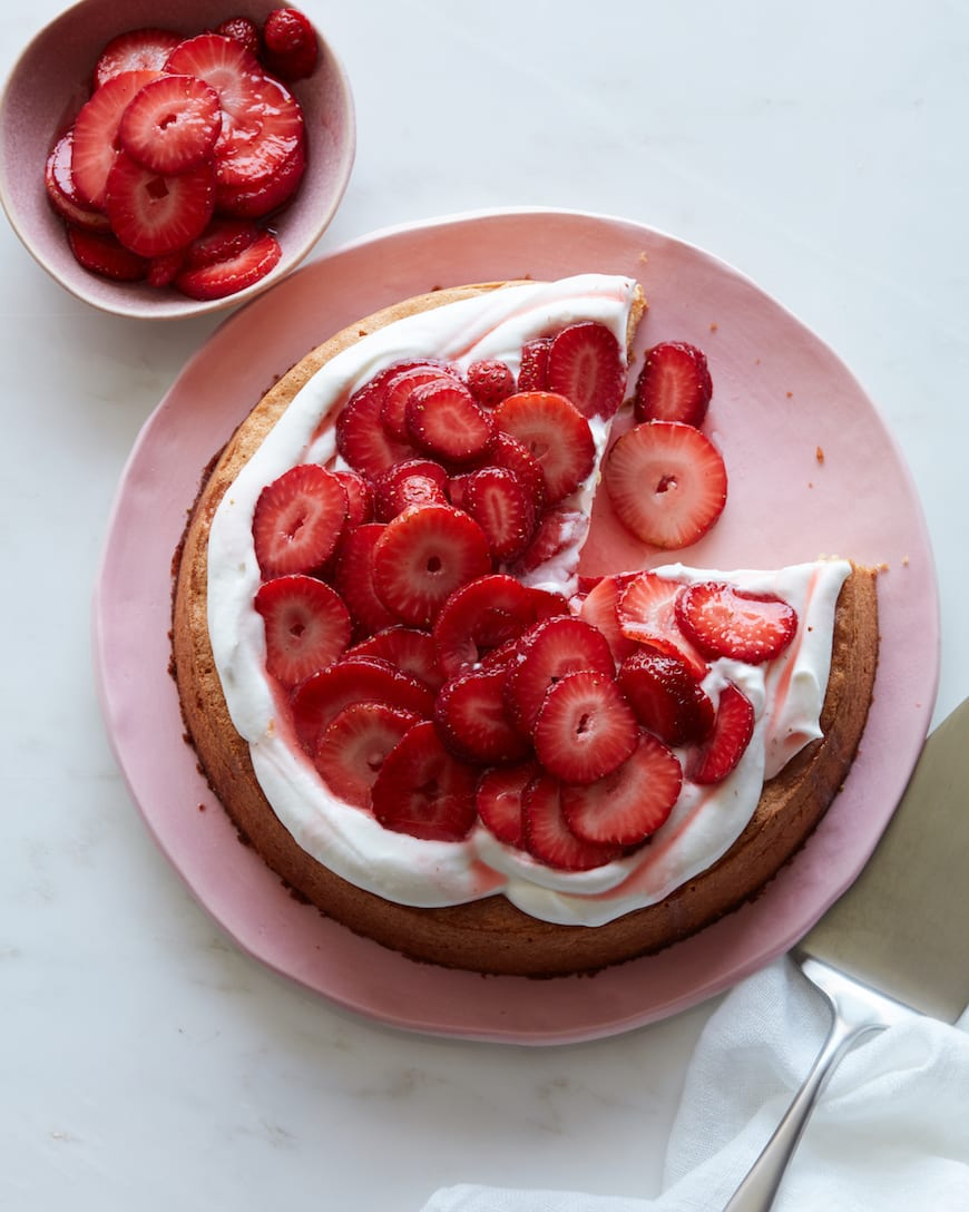 Almond Cake with Strawberries from www.whatsgabycooking.com (@whatsgabycookin)