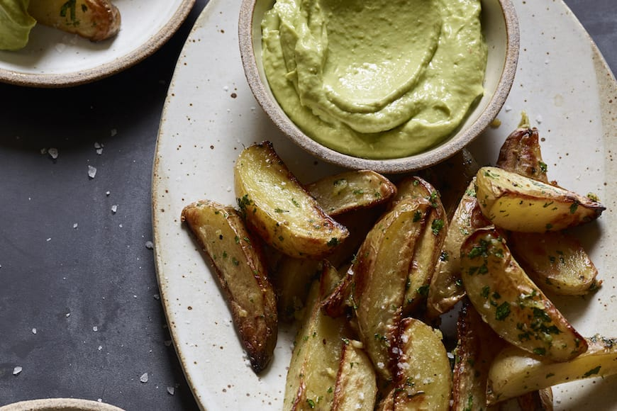 Roasted Potato Fries with Avocado Aioli from www.whatsgabycooking.com (@whatsgabycookin)