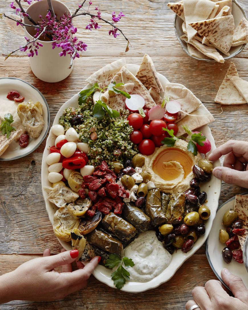 Vegetarian mezze platter whats gaby cooking before the easter feast we need a light and colorful vegetarian mezze platter forumfinder Choice Image