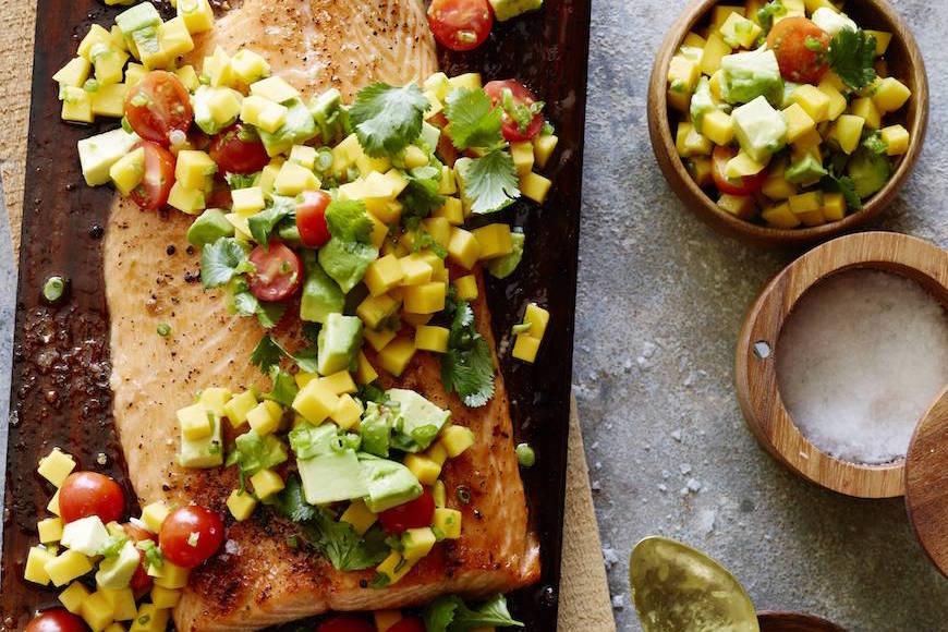 Cedar Plank Salmon with Mango Avocado Salsa