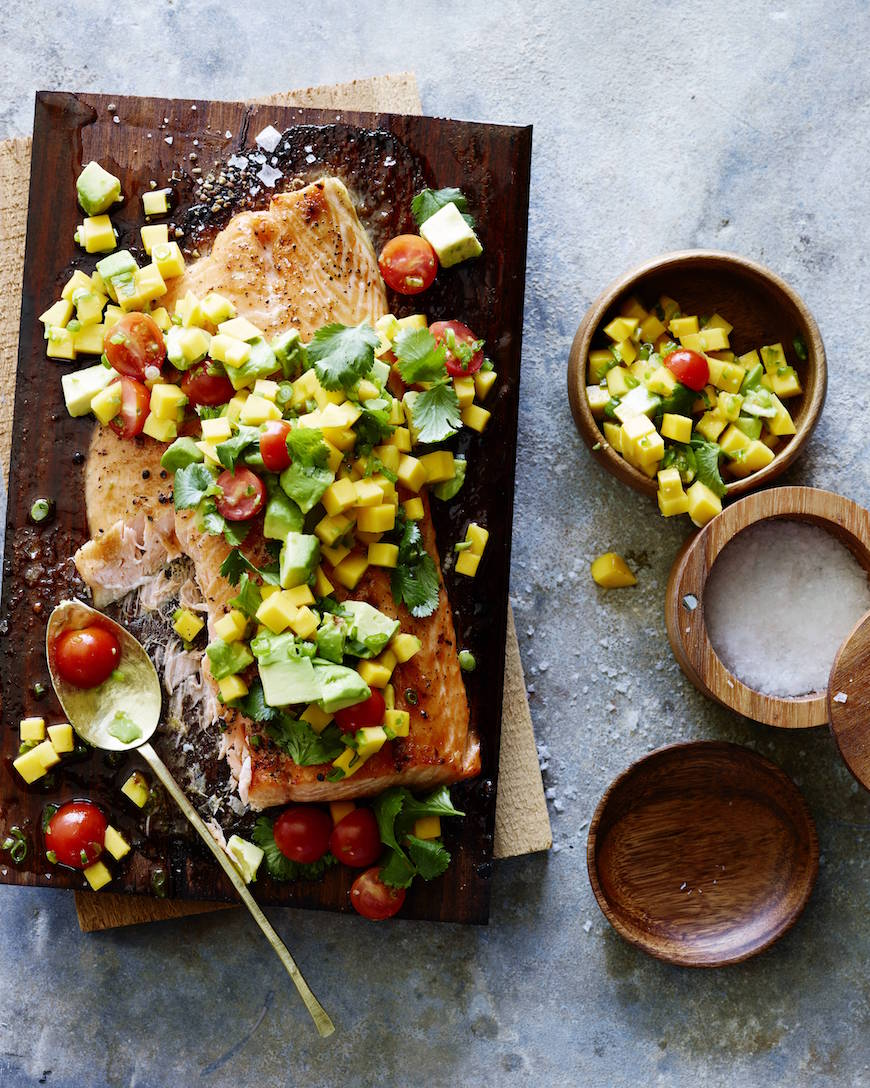 Cedar Plank Salmon with Mango Avocado Salsa from www.whatsgabycooking.com (@whatsgabycookin)