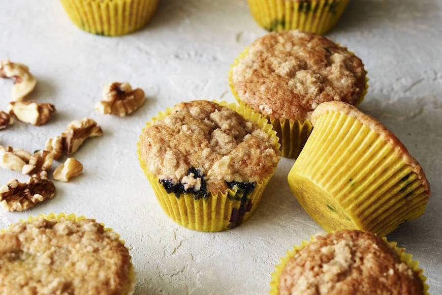 Blueberry Crumb Cakes with Walnut Streusel