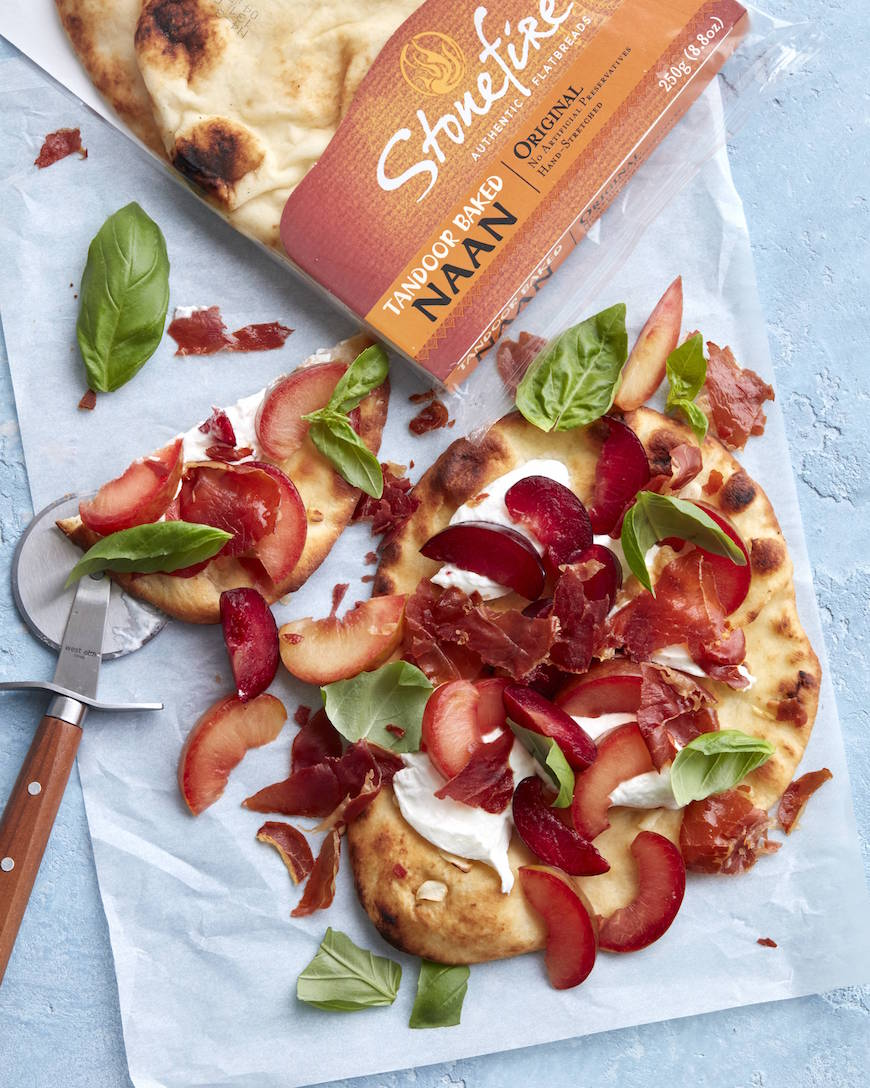 Crispy Prosciutto, Plum and Burrata Flatbread from www.whatsgabycooking.com (@whatsgabycookin)