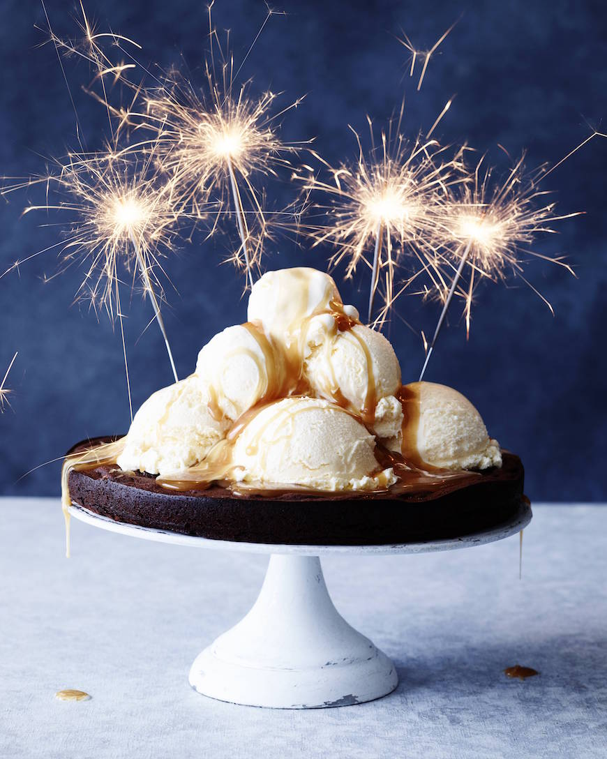 Caramel Drenched Flourless Chocolate Cake
