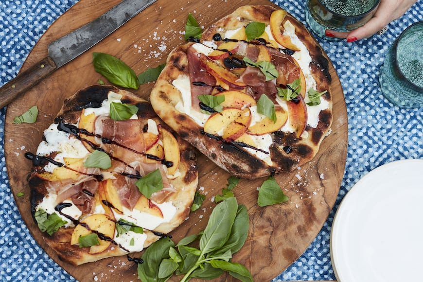 Grilled Peach and Prosciutto Pizza